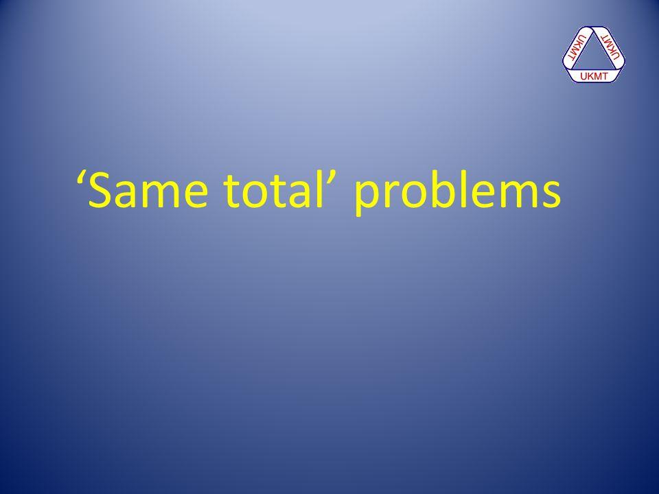 'Same total' problems