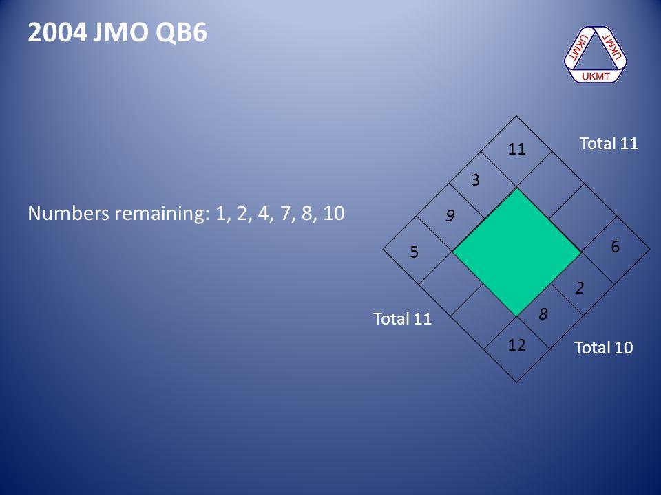 2004 JMO QB6 5 6 3 12 11 9 Numbers remaining: 1, 2, 4, 7, 8, 10 Total 11 Total 10 8 2