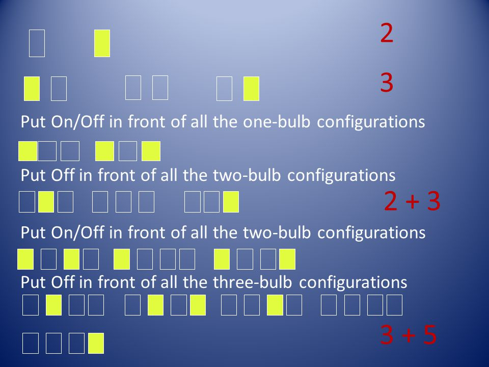 Put On/Off in front of all the one-bulb configurations Put Off in front of all the two-bulb configurations Put On/Off in front of all the two-bulb con
