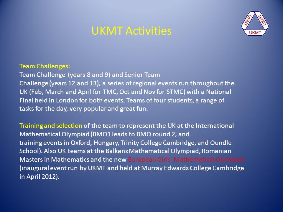 UKMT Activities Team Challenges: Team Challenge (years 8 and 9) and Senior Team Challenge (years 12 and 13), a series of regional events run throughou