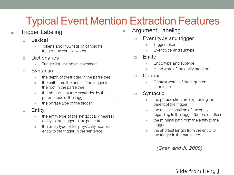 Typical Event Mention Extraction Features Trigger Labeling  Lexical Tokens and POS tags of candidate trigger and context words  Dictionaries Trigger list, synonym gazetteers  Syntactic the depth of the trigger in the parse tree the path from the node of the trigger to the root in the parse tree the phrase structure expanded by the parent node of the trigger the phrase type of the trigger  Entity the entity type of the syntactically nearest entity to the trigger in the parse tree the entity type of the physically nearest entity to the trigger in the sentence Argument Labeling  Event type and trigger Trigger tokens Event type and subtype  Entity Entity type and subtype Head word of the entity mention  Context Context words of the argument candidate  Syntactic the phrase structure expanding the parent of the trigger the relative position of the entity regarding to the trigger (before or after) the minimal path from the entity to the trigger the shortest length from the entity to the trigger in the parse tree (Chen and Ji, 2009) Slide from Heng Ji