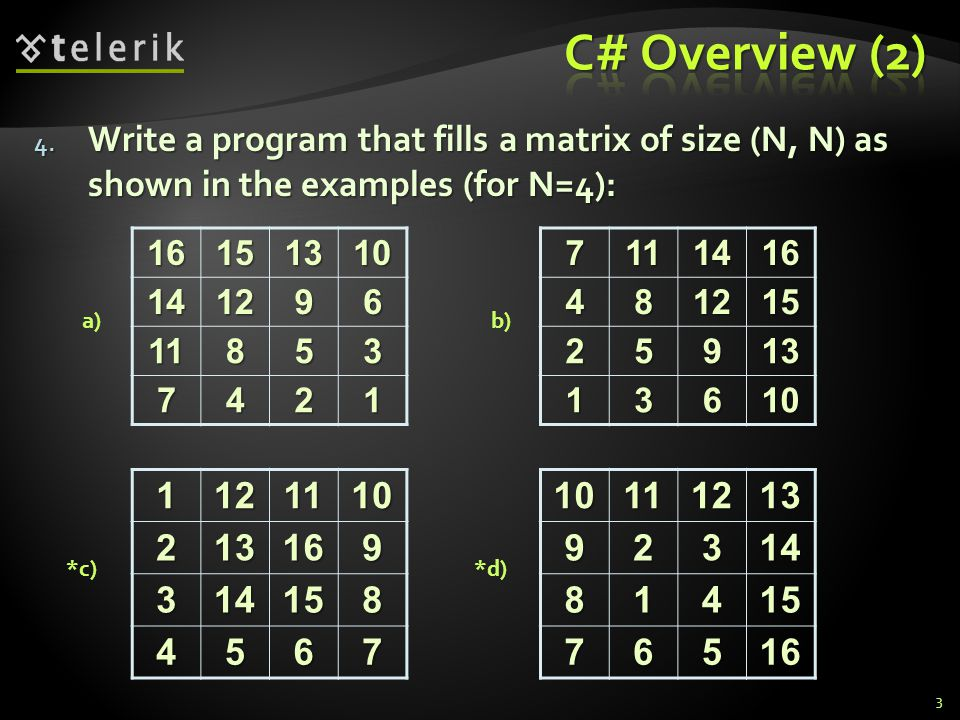 4. Write a program that fills a matrix of size (N, N) as shown in the examples (for N=4): 316151310141296 11853 74217111416481215 25913 13610 10111213