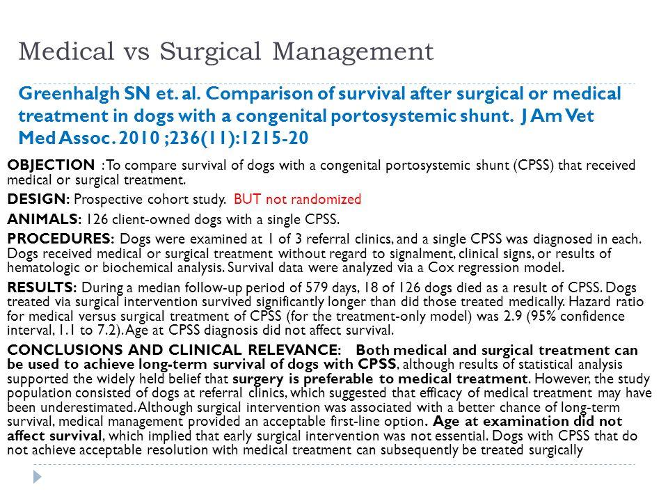 Medical vs Surgical Management Greenhalgh SN et. al.