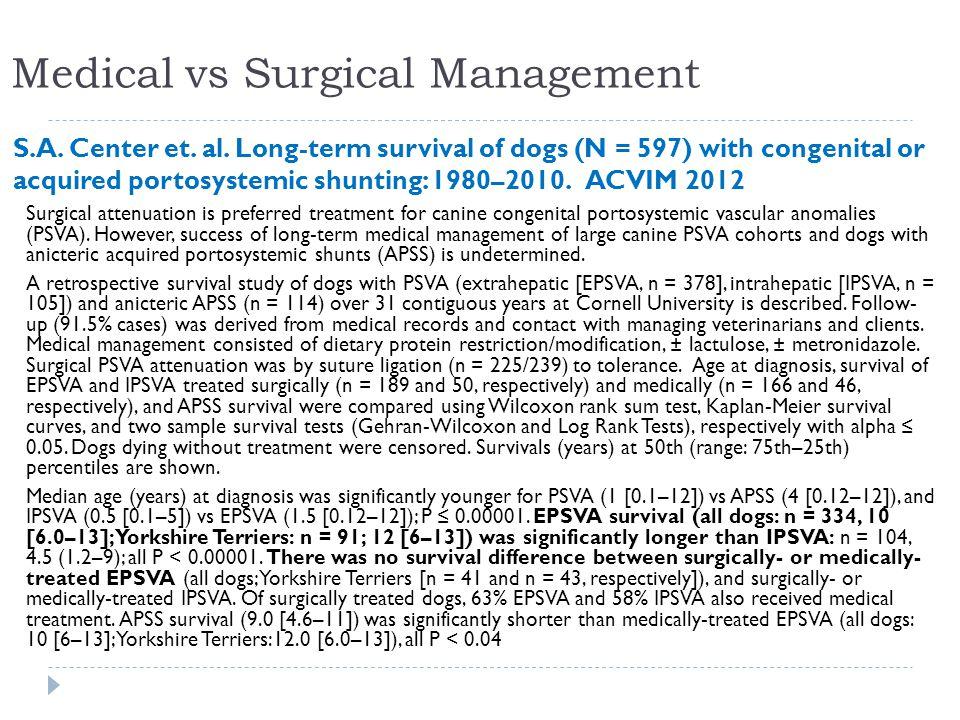 Medical vs Surgical Management S.A. Center et. al.