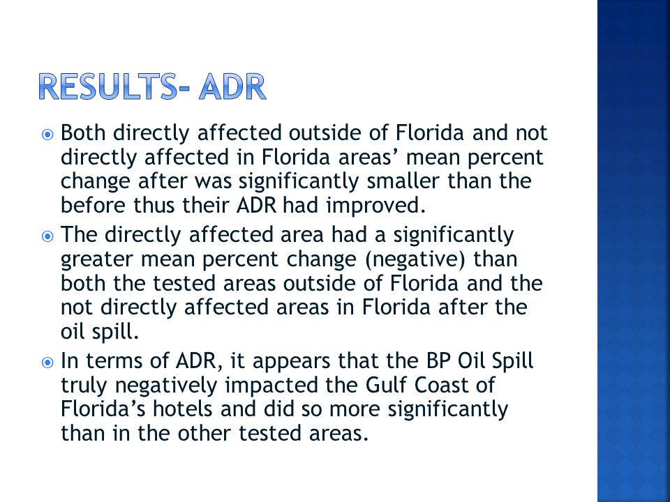  Both directly affected outside of Florida and not directly affected in Florida areas' mean percent change after was significantly smaller than the before thus their ADR had improved.