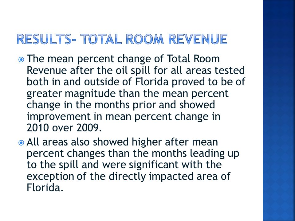  The mean percent change of Total Room Revenue after the oil spill for all areas tested both in and outside of Florida proved to be of greater magnitude than the mean percent change in the months prior and showed improvement in mean percent change in 2010 over 2009.