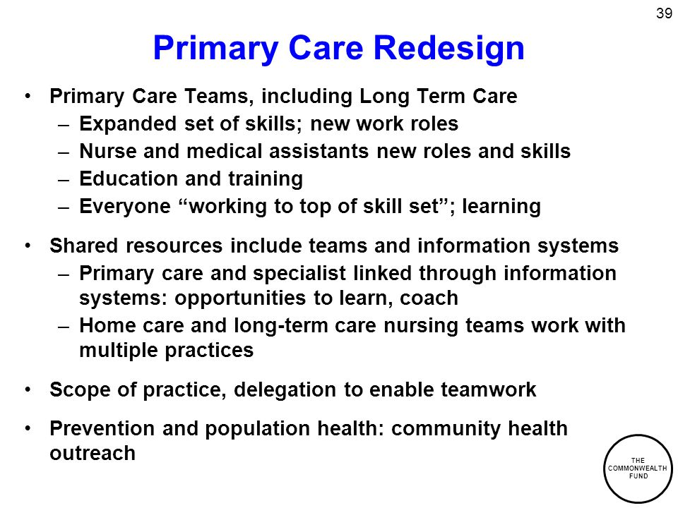 THE COMMONWEALTH FUND 39 Primary Care Redesign Primary Care Teams, including Long Term Care –Expanded set of skills; new work roles –Nurse and medical assistants new roles and skills –Education and training –Everyone working to top of skill set ; learning Shared resources include teams and information systems –Primary care and specialist linked through information systems: opportunities to learn, coach –Home care and long-term care nursing teams work with multiple practices Scope of practice, delegation to enable teamwork Prevention and population health: community health outreach