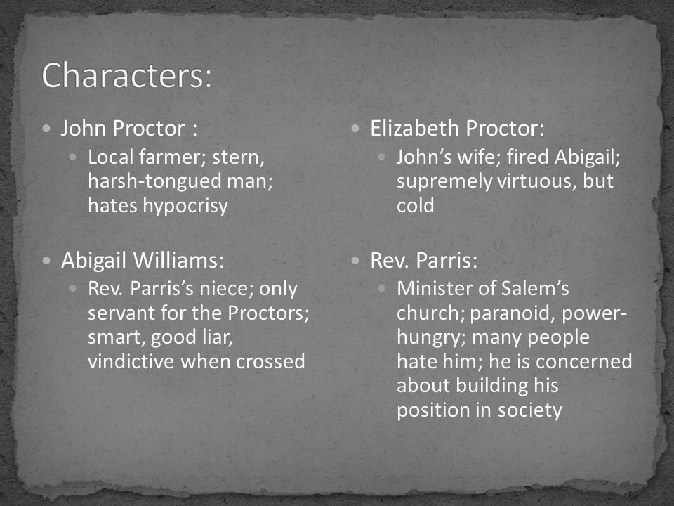 John Proctor : Local farmer; stern, harsh-tongued man; hates hypocrisy Abigail Williams: Rev.