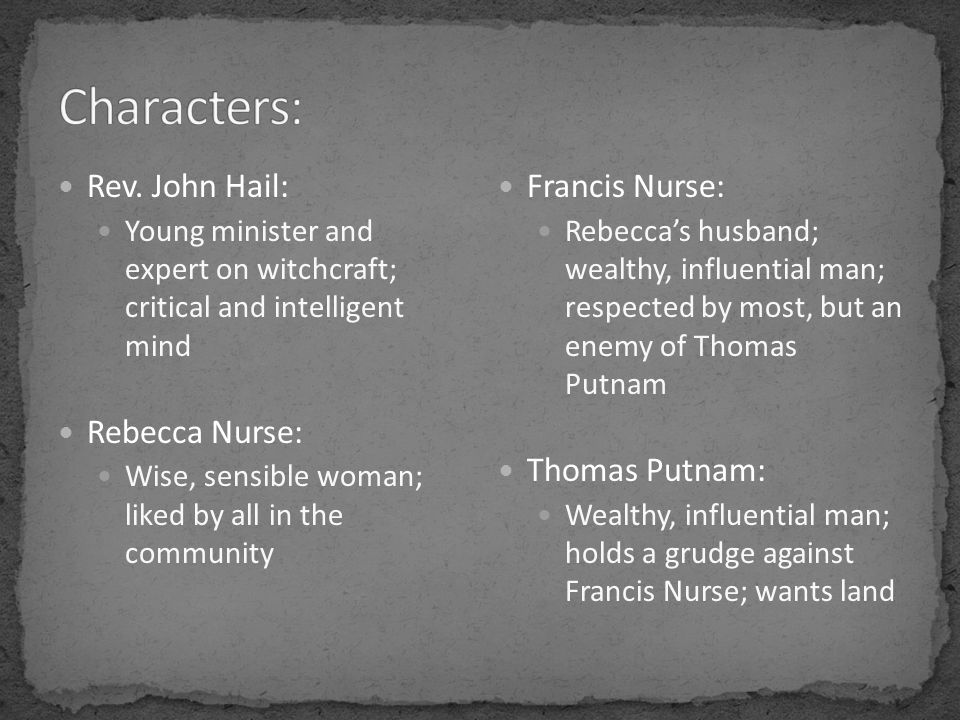 Rev. John Hail: Young minister and expert on witchcraft; critical and intelligent mind Rebecca Nurse: Wise, sensible woman; liked by all in the commun