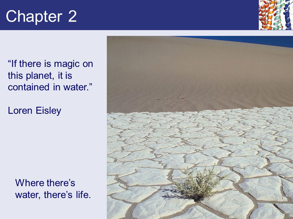 """Chapter 2 """"If there is magic on this planet, it is contained in water."""" Loren Eisley Where there's water, there's life."""