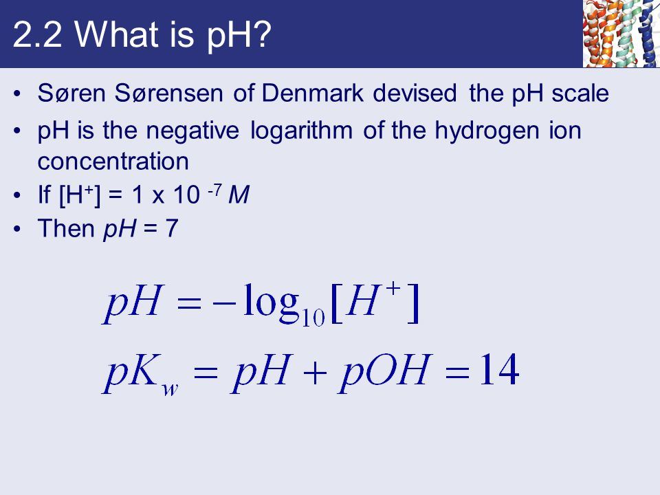 2.2 What is pH? Søren Sørensen of Denmark devised the pH scale pH is the negative logarithm of the hydrogen ion concentration If [H + ] = 1 x 10 -7 M