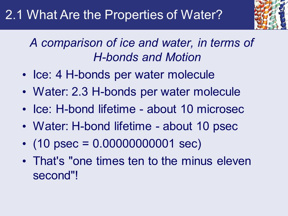 2.1 What Are the Properties of Water? A comparison of ice and water, in terms of H-bonds and Motion Ice: 4 H-bonds per water molecule Water: 2.3 H-bon