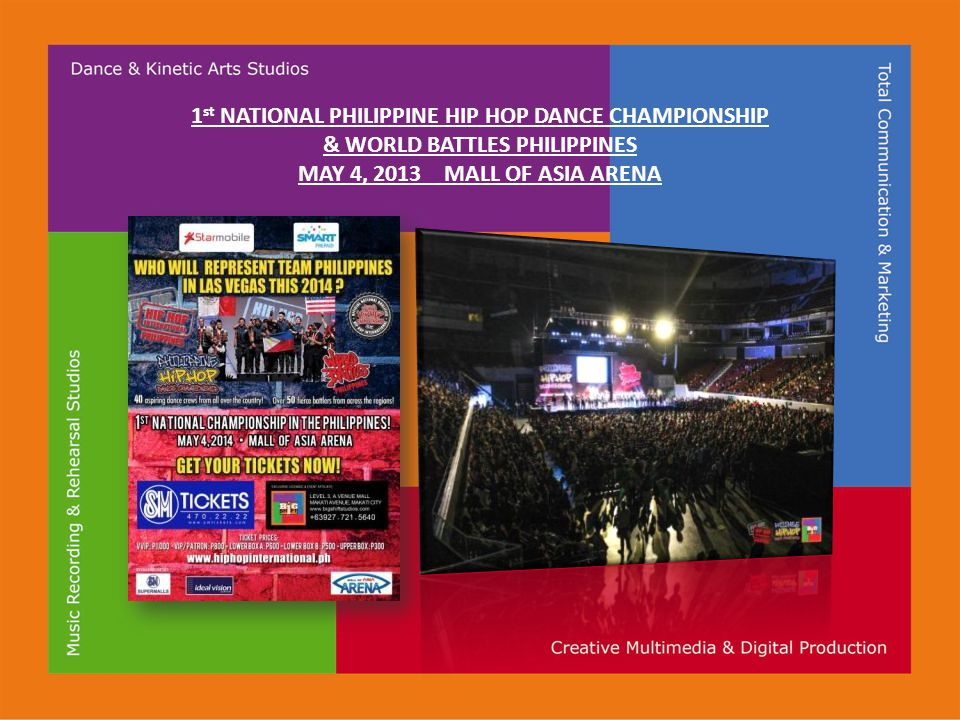 1 st NATIONAL PHILIPPINE HIP HOP DANCE CHAMPIONSHIP & WORLD BATTLES PHILIPPINES MAY 4, 2013 MALL OF ASIA ARENA