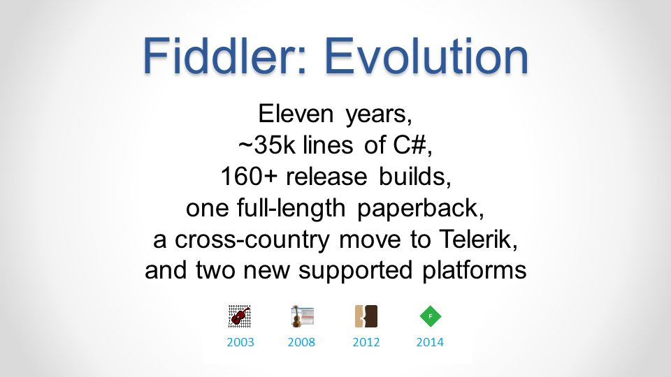 Fiddler: Evolution Eleven years, ~35k lines of C#, 160+ release builds, one full-length paperback, a cross-country move to Telerik, and two new suppor
