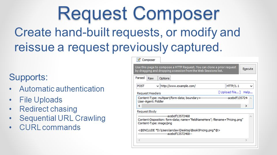 Request Composer Create hand-built requests, or modify and reissue a request previously captured. Supports: Automatic authentication File Uploads Redi