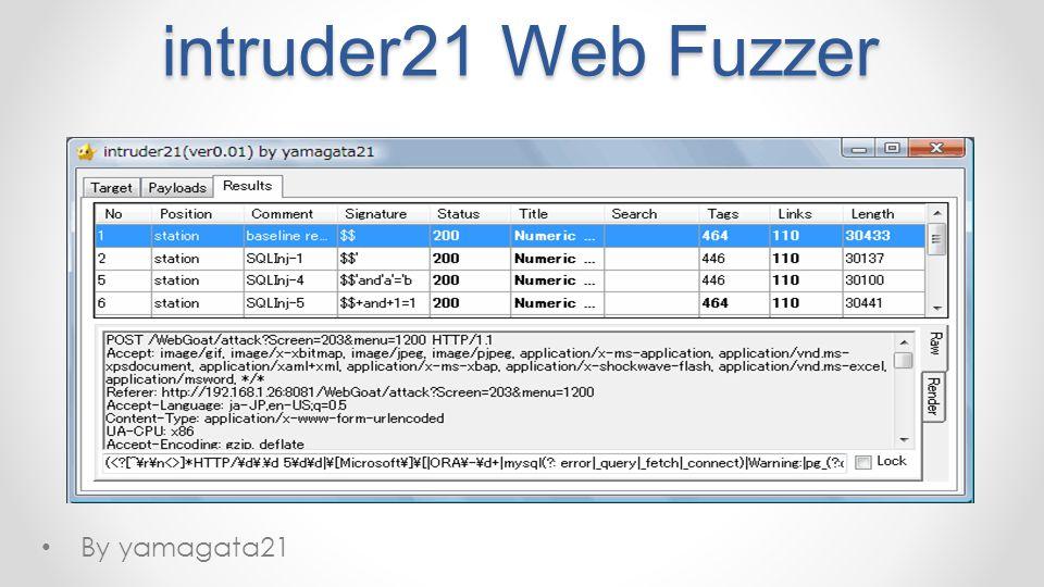 intruder21 Web Fuzzer By yamagata21