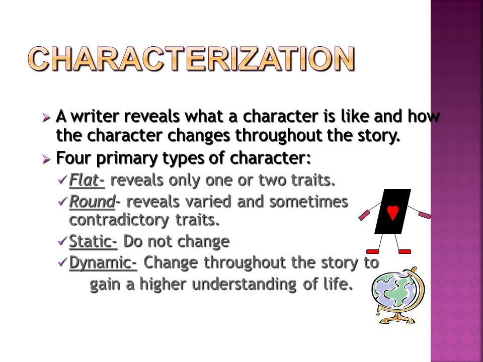  A  A writer reveals what a character is like and how the character changes throughout the story.
