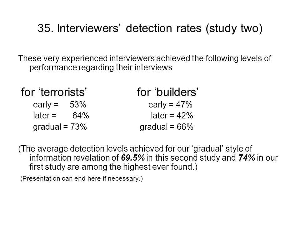 36.Is there a relationship between PEACE skills and interview outcomes.