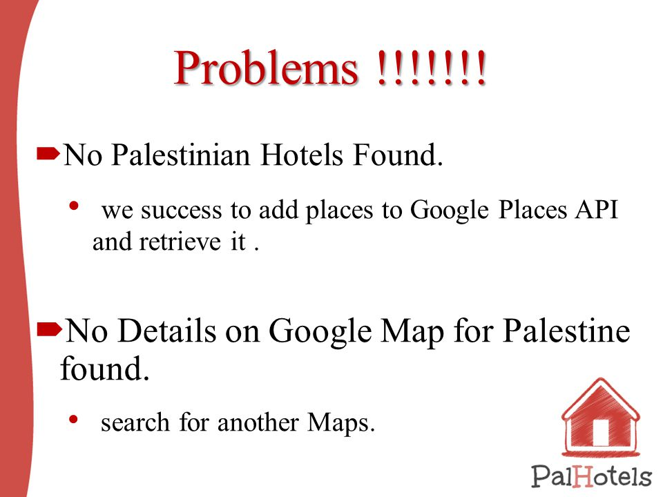Problems !!!!!!.  No Palestinian Hotels Found.