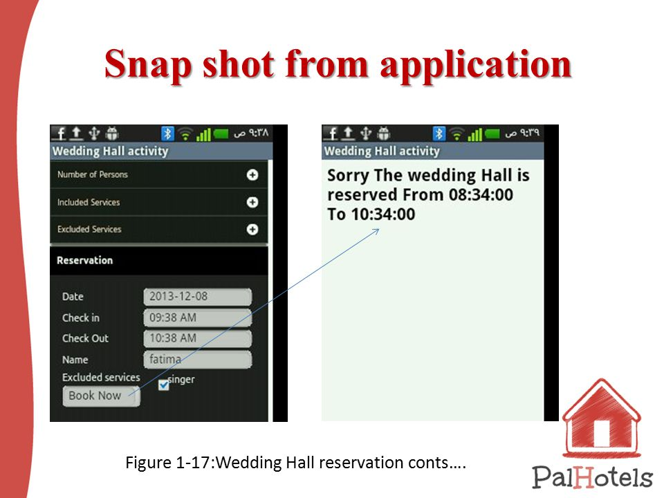 Snap shot from application Snap shot from application Figure ‎1 ‑ 17:Wedding Hall reservation conts….