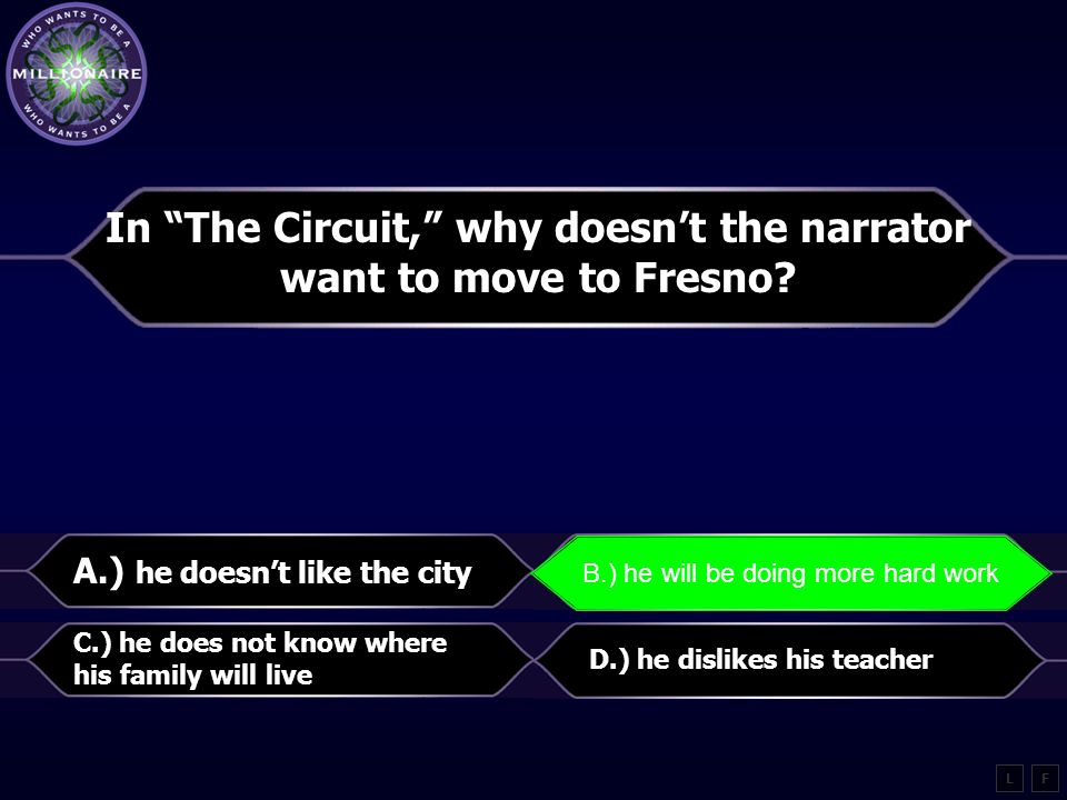 """How does Panchito feel about school in """"The Circuit""""? A.) doesn't like getting out of work B.) makes him upset because his brother can't go C.) wants"""