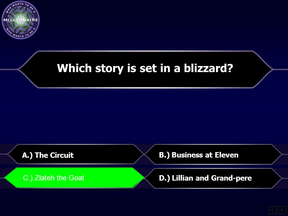 Choose which story does one person try to learn English from another person A.) Cutthroat B.) Lillian and Grand-pere C.) Zlateh the GoatD.) The King of Mazy May L B.) Lillian and Grand-pere F