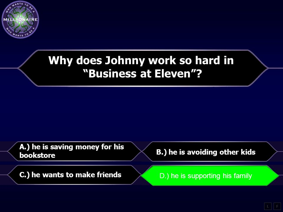 """What idea would Johnny in """"Business at Eleven"""" agree with most? A.) family member can be counted on B.) life is fair C.) a person can only count on hi"""