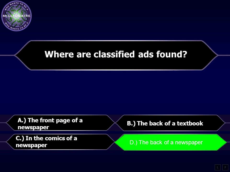 Where are classified ads found.
