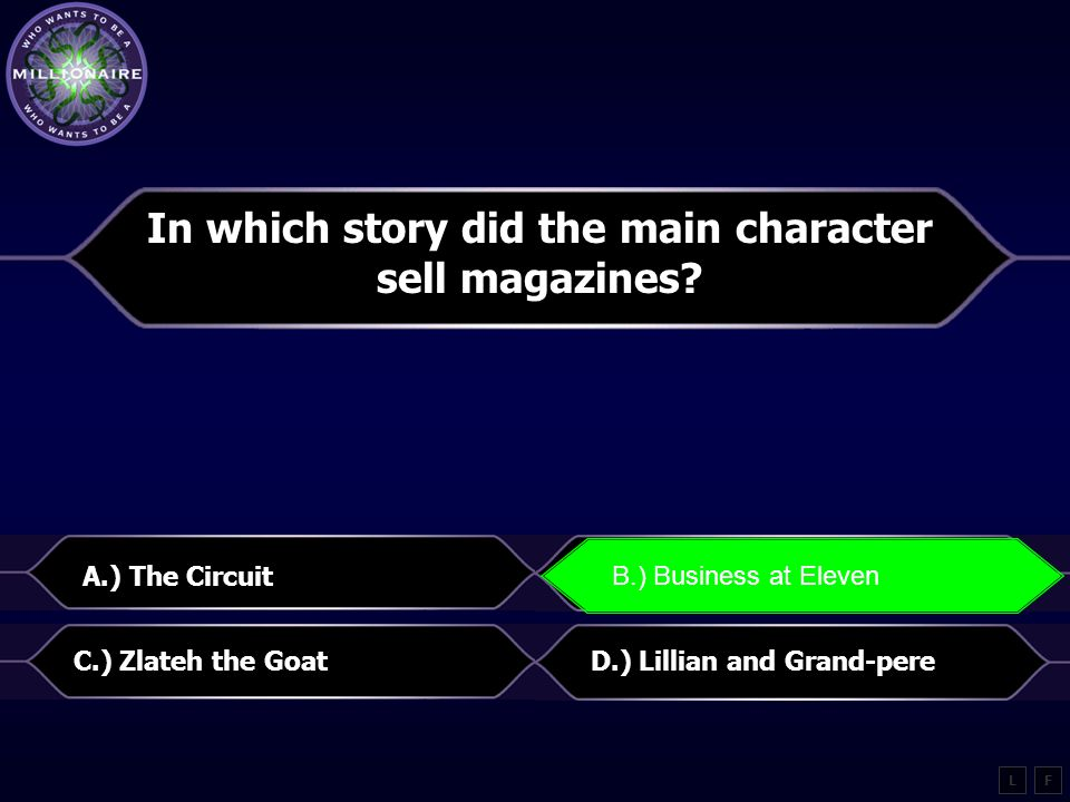 Which story's author was a migrant farmer? A.) The Circuit B.) Business at Eleven C.) Zlateh the GoatD.) Lillian and Grand-pere L A.) The Circuit F