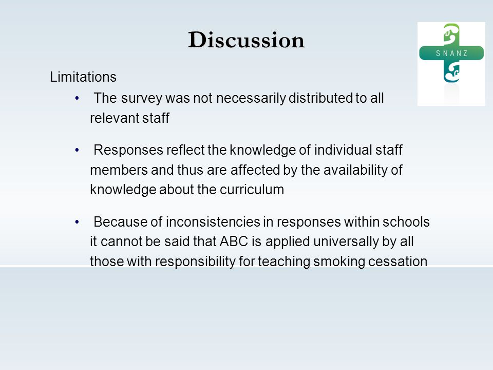 Discussion Limitations The survey was not necessarily distributed to all relevant staff Responses reflect the knowledge of individual staff members and thus are affected by the availability of knowledge about the curriculum Because of inconsistencies in responses within schools it cannot be said that ABC is applied universally by all those with responsibility for teaching smoking cessation
