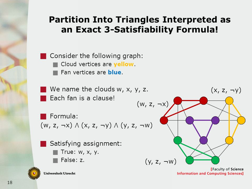 18 Partition Into Triangles Interpreted as an Exact 3-Satisfiability Formula.