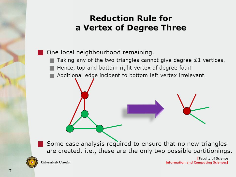 7 Reduction Rule for a Vertex of Degree Three  One local neighbourhood remaining.