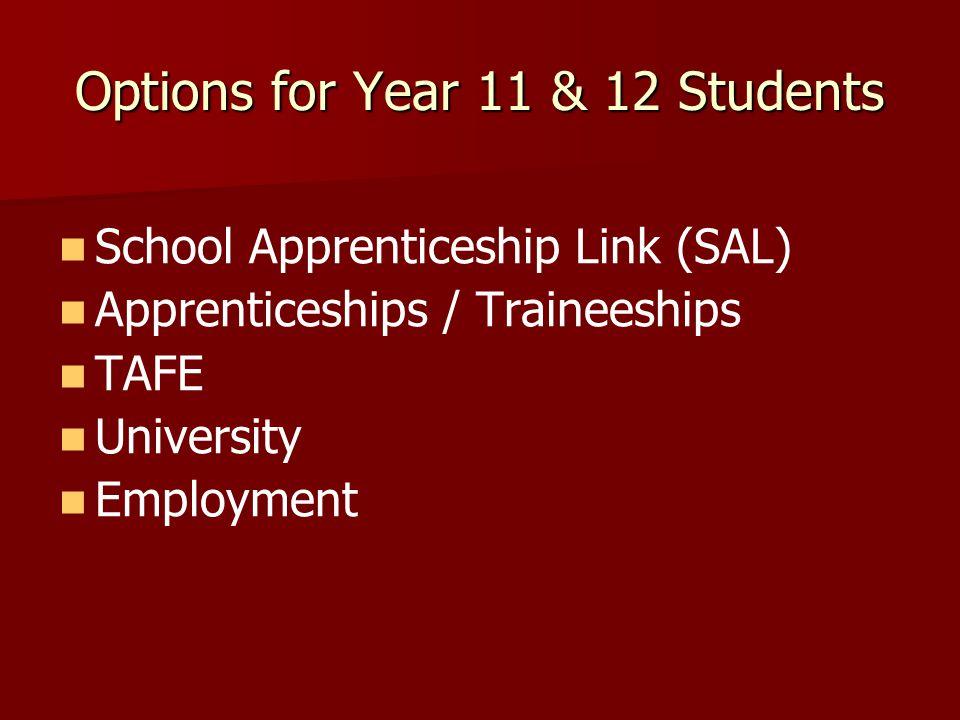 Options for Year 11 & 12 Students School Apprenticeship Link (SAL) Apprenticeships / Traineeships TAFE University Employment