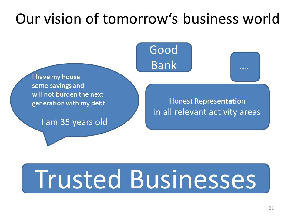 Our vision of tomorrow's business world …… Honest Representation in all relevant activity areas Good Bank Trusted Businesses I have my house some savings and will not burden the next generation with my debt I am 35 years old 21