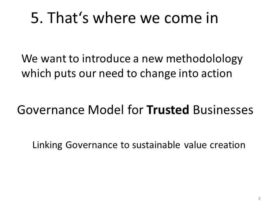 5. That's where we come in Governance Model for Trusted Businesses Linking Governance to sustainable value creation We want to introduce a new methodo