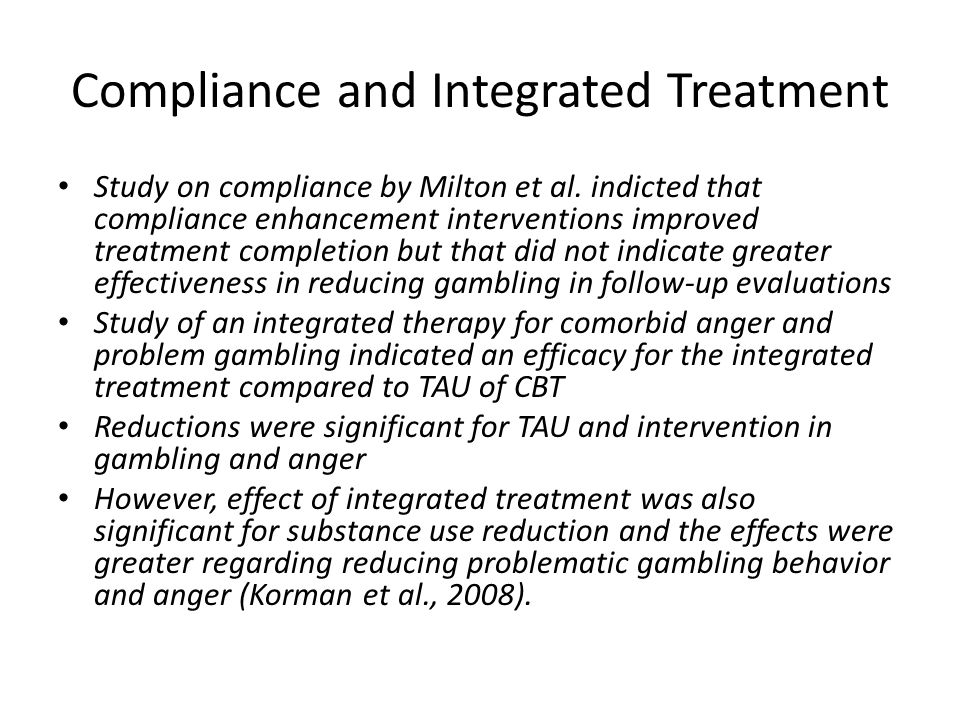 Compliance and Integrated Treatment Study on compliance by Milton et al.