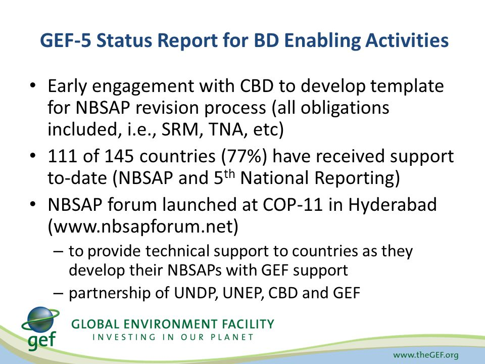 Enabling Activity support is provided for activities related to the preparation of National Communication reports to the United Nations Framework Convention on Climate Change (UNFCCC) as per their obligations under Articles 4.1 and 12.1 of the UNFCCC.