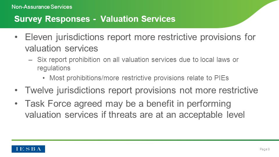 Page 9 Eleven jurisdictions report more restrictive provisions for valuation services –Six report prohibition on all valuation services due to local laws or regulations Most prohibitions/more restrictive provisions relate to PIEs Twelve jurisdictions report provisions not more restrictive Task Force agreed may be a benefit in performing valuation services if threats are at an acceptable level Survey Responses - Valuation Services Non-Assurance Services