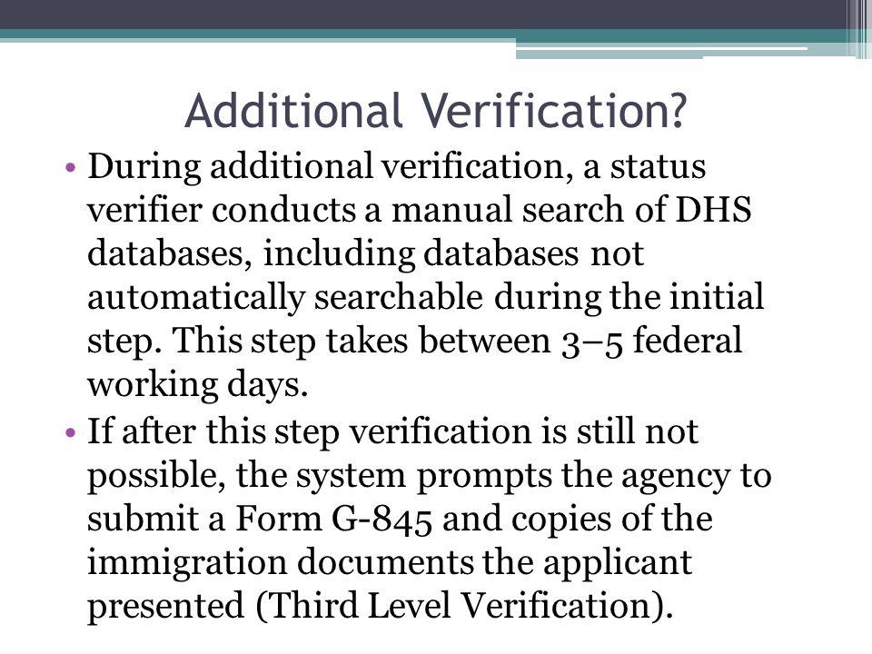 Additional Verification.