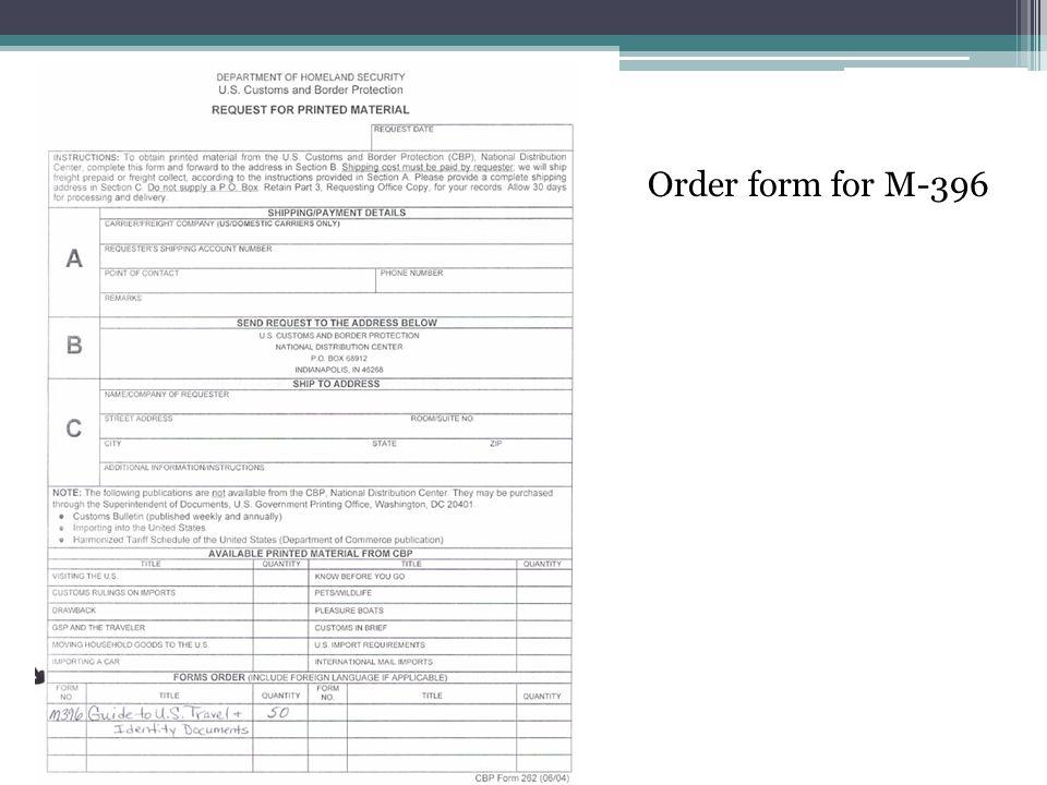 Order form for M-396