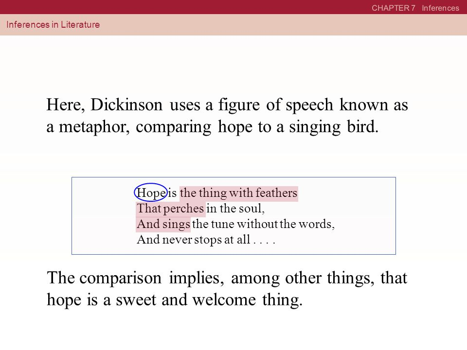 CHAPTER 7 Inferences Inferences in Literature Here, Dickinson uses a figure of speech known as a metaphor, comparing hope to a singing bird. The compa