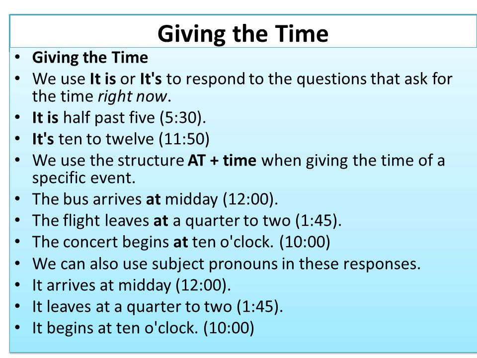 AM vs.PM We don t normally use the 24-hour clock in English.