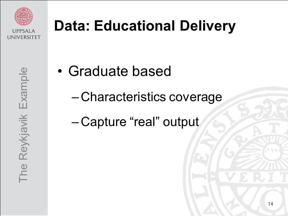 Graduate based –Characteristics coverage –Capture real output 14 The Reykjavik Example Data: Educational Delivery