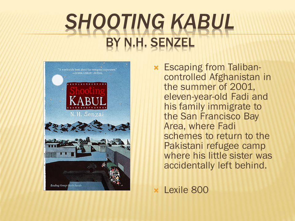  Escaping from Taliban- controlled Afghanistan in the summer of 2001, eleven-year-old Fadi and his family immigrate to the San Francisco Bay Area, where Fadi schemes to return to the Pakistani refugee camp where his little sister was accidentally left behind.