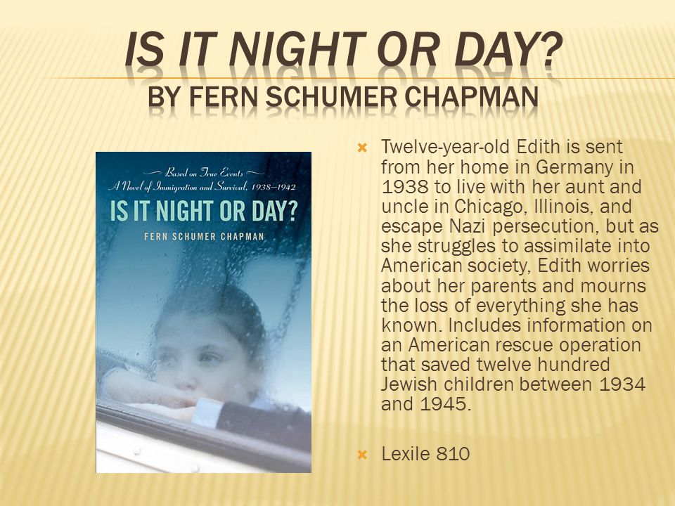  Twelve-year-old Edith is sent from her home in Germany in 1938 to live with her aunt and uncle in Chicago, Illinois, and escape Nazi persecution, but as she struggles to assimilate into American society, Edith worries about her parents and mourns the loss of everything she has known.