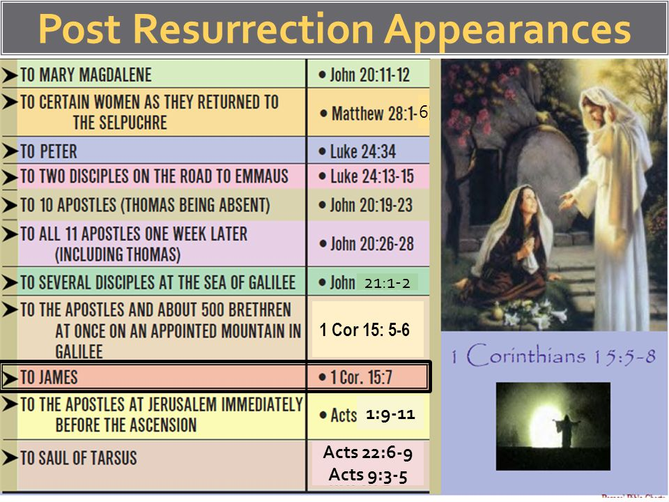 Post Resurrection Appearances 6 21:1-2 1 Cor 15: 5-6 1:9-11 Acts 22:6-9 Acts 9:3-5