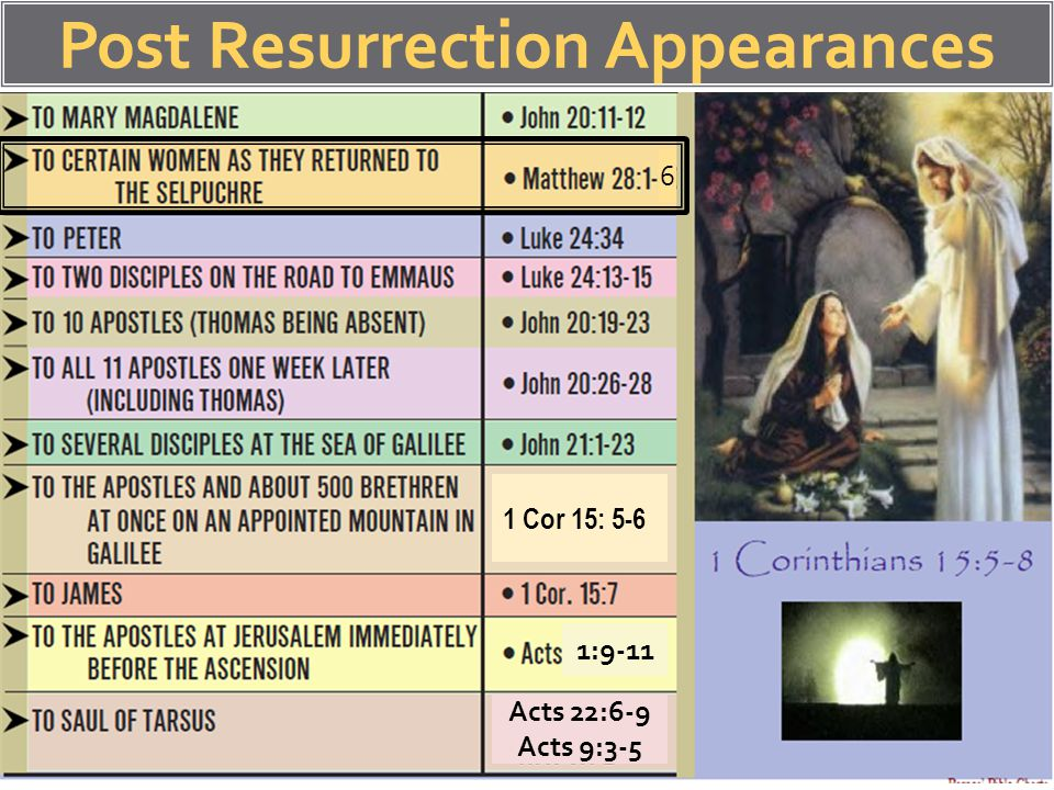 Post Resurrection Appearances 6 1 Cor 15: 5-6 1:9-11 Acts 22:6-9 Acts 9:3-5