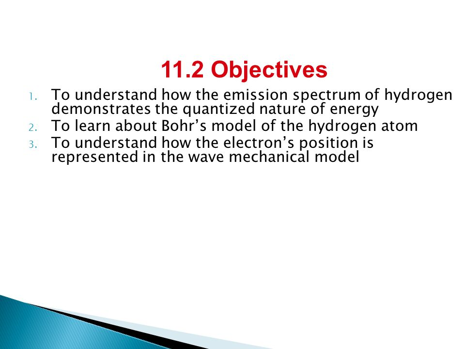 1. To understand how the emission spectrum of hydrogen demonstrates the quantized nature of energy 2. To learn about Bohr's model of the hydrogen atom