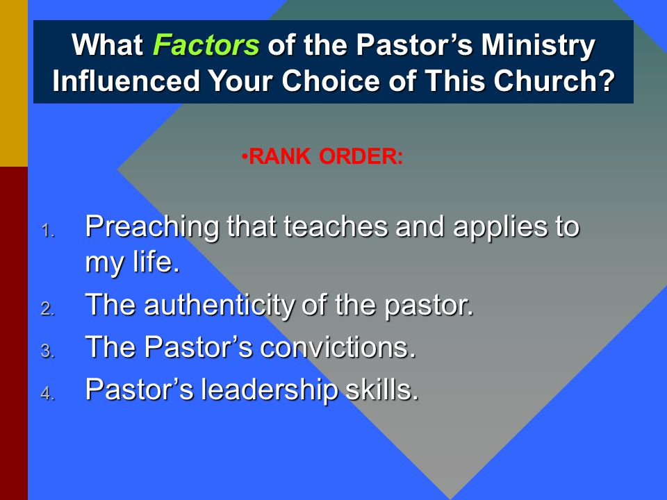 What Factors of the Pastor's Ministry Influenced Your Choice of This Church.
