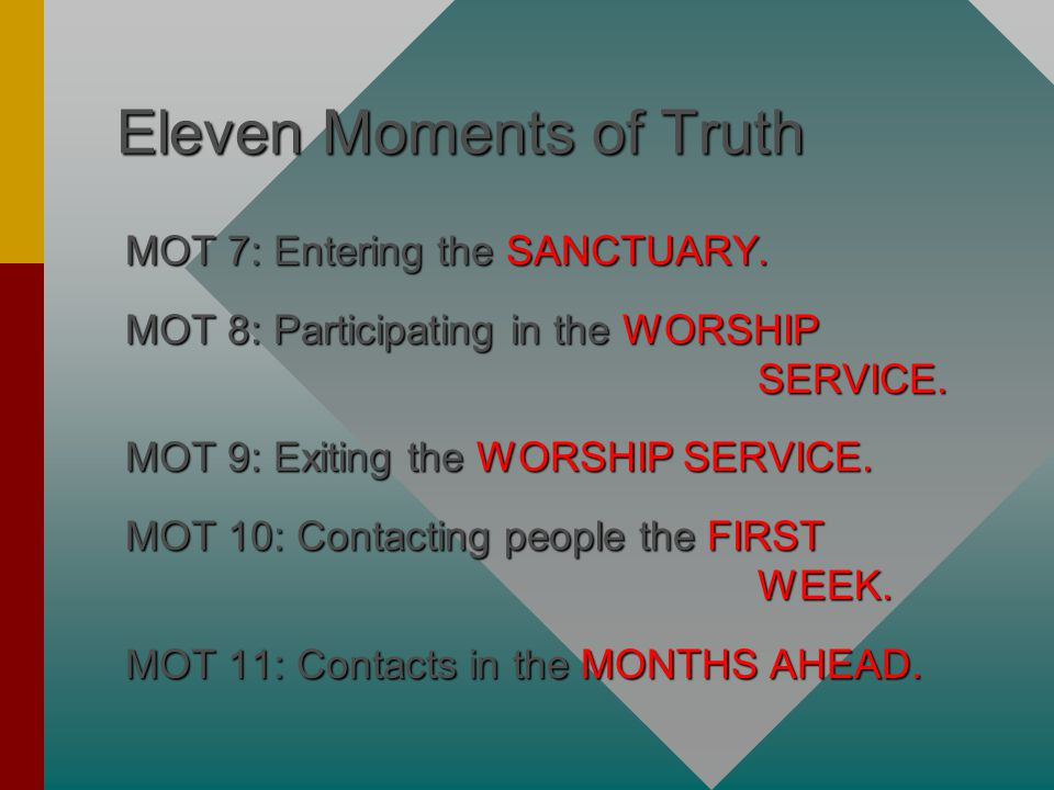 Eleven Moments of Truth MOT 7: Entering the SANCTUARY.